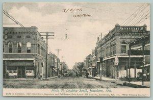 Jonesboro AR~Berger Dry Goods~Ellis Jewelry~Man Agin' Street Clock~Main St~c1908