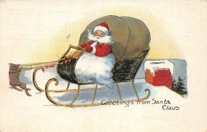 F94/ Santa Claus Merry Christmas Postcard c1910 Reindeer Sleigh 13