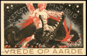WWI Holland Dutch Anti-War Artist Graphic Advertising Postcard 82162