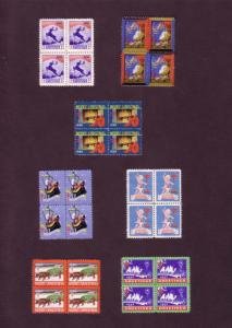 Set of Seven Different Centre Blocks of Christmas Seals, 1937, 38, 41, 43, 46...