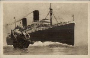 Norddeutscher Lloyd Bremen Steamship COLUMBUS Real Photo Postcard c1915