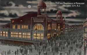 Steel Pier and Boardwalk By Moonlight, Atlantic City, N.J., Early Postcard