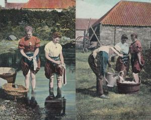 A Scotch Scot Washing 2 Antique Scotland Postcard s EX