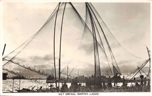 br104344 net drying marina lagos  africa real photo nigeria