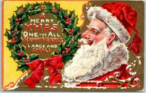 Vintage SANTA CLAUS Christmas Embossed Postcard A MERRY XMAS ONE and ALL 1909