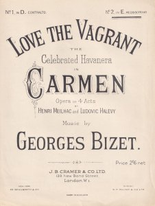 Love The Vagrant Georges Bizet Opera Olde Sheet Music