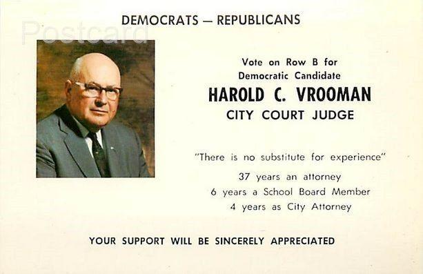 NY, Oneonta, New York, Harold C. Vrooman, City Court Judge, Candidate, Chas. ...