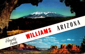 Arizona Howdy From Williams Showing Oak Creek Canyon & San Francisco Peaks 1964
