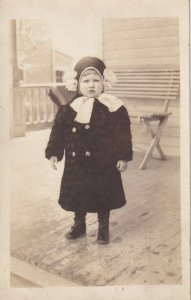 1904-1918 RPPC AZO Chile in Winter Clothes Standing on Porch