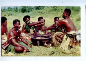 203311 FIJI Yanqona ceremony Semi-nude men Vintage RPPC