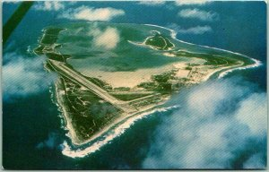 Vintage 1950s WAKE ISLAND Postcard Aerial View / Clouds - Chrome Unused