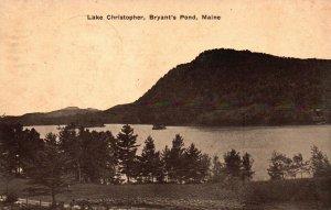 Lake Christopher, Bryant's Pond, Maine, ME, 1915 Vintage Postcard g2193