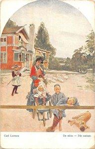 US2935 Carl Larsson, De Mina Die Meinen Painting Postcard artist signed