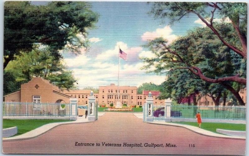 Gulfport Mississippi Postcard Entrance to Veterans Hospital VA Army Linen WWII