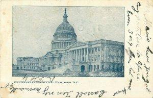 U S Capitol 1908 Postcard Black and White