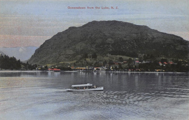 Queenstown From the Lake, New Zealand, Early Postcard, Unused