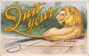 Comic Pun: Quit Your Lion~King of the Jungle Smiles~Tail Spells~Embossed~Robbins