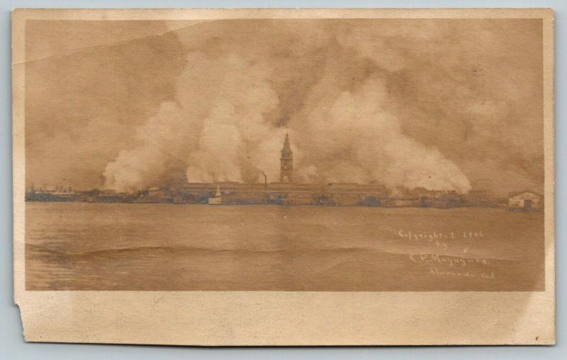 San Francisco~Burning of City~Ferries View~CP Magagnes Photo~Earthquake~1906 RP