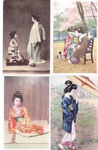 Four Cards - Japanese Women in Native Costume