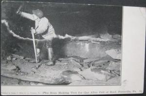 Fire Boss Making Test For Gas After Fall Of Roof Pottsville PA 1906 Coal Mine