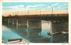 1927 Wabash River Bridge Terre Haute Indiana Teich postcard 2222