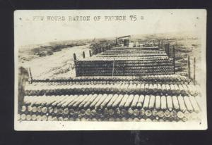 RPPC WWI FRANCE 75 MM ARTILLERY SHELLS BOMBS VINTAGE REAL PHOTO POSTCARD