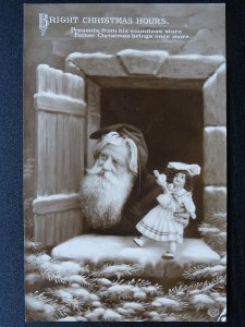 Bright Christmas Hours FATHER CHRISTMAS DELIVERS DOLLY c1908 RP Postcard