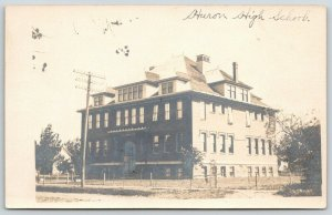 Huron South Dakota~High School Building~Wire Fence Around Lawn~House~1905 RPPC