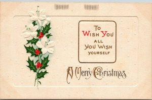 To Wish You All You Wish Yourself - A Merry Christmas Postcard Old Vintage