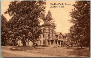 Cheshire Connecticut Postcard CHESHIRE PUBLIC SCHOOL Building View c1910s UNUSED