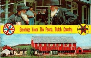Postcard PA Pennsylvania Banner Dual View Dutch Country Hex Barn Amish Men