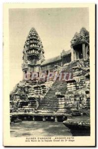 Postcard Ancient Ruins Cambodia Angkor Angkor Vath D Wing northern facade