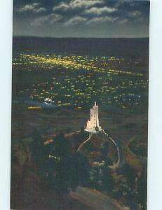 Unused Linen NIGHT VIEW OF WILL ROGERS SHRINE Colorado Springs CO Q9531