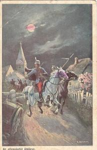 Cavalry horseman military on the counter white horse early artist postcard