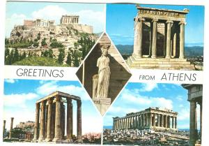 Greece, Greetings from ATHENS, 1986 used Postcard
