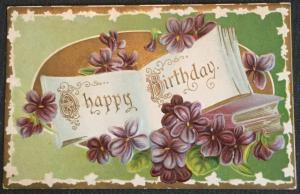 "Postcard Used ""Happy Birthday"" embossed Flowers LB"
