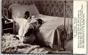 c1900s DOG / Animal Postcard THE EVENING PRAYER Girl & Dog Praying / Bed