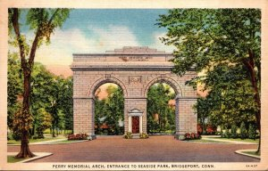 Connecticut Bridgeport Perry Memorial Arch Entrance To Seaside Park 1936 Curt...