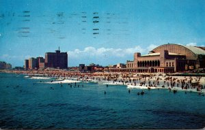 New Jersey Atlantic City Panoramic View Showing Convention Hall and Beach Fro...