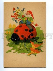 150239 Dwarf GNOME Huge LADYBIRD MUSHROOM by KONING Vintage PC