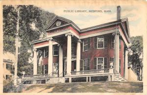 Medford Massachusetts Public Library Street View Antique Postcard K48397