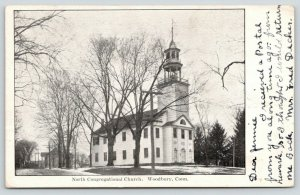Woodbury Connecticut~North Congregational Church~Bell Tower~House Behind~1907