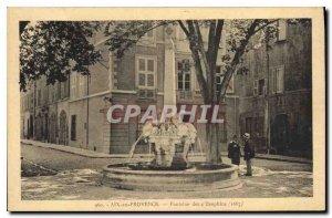Old Postcard Aix en Provence La Fontaine des Dauphins 4