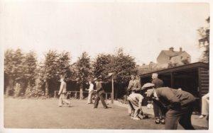 Bowling Match Antique Real Photo Postcard
