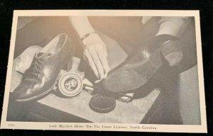 1940s Lady Marine Shines Shoes, Camp Lejuene, North Carolina Postcard.
