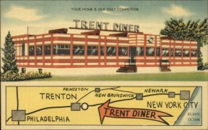 Trenton NJ Trent Diner Roadside Linen Postcard EXC COND