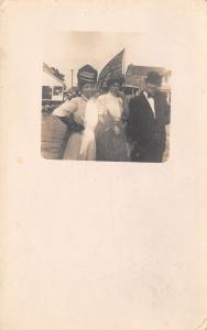 Frankfort South Dakota? Fashionable Ladies on River~Boat Flag~Pavilion~1910 RPPC