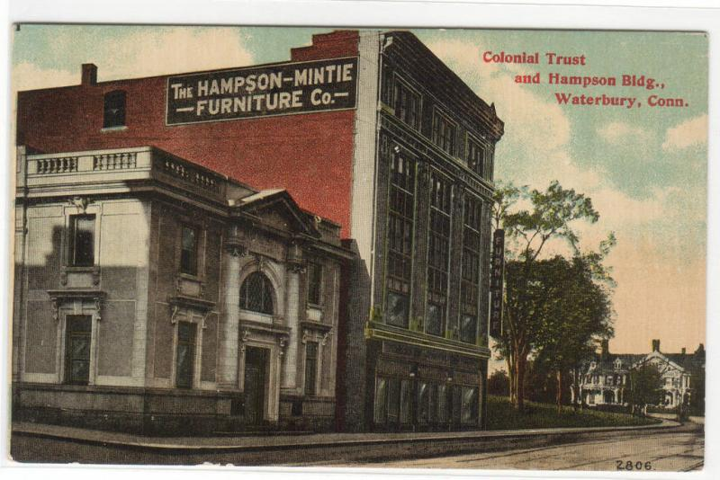 Hampson Furniture Store Colonial Trust Bank Waterbury Connecticut 1910c  Postcard