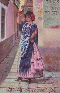 Bullfighting Poster Antique Spanish Lady Advertising Bull Ring Oilette Postcard