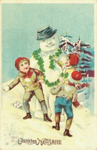 Happy New Year Vintage Postcard Snowman 03.33
